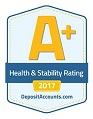 A+ health and stability rating, 2017, from DepositAccounts.com